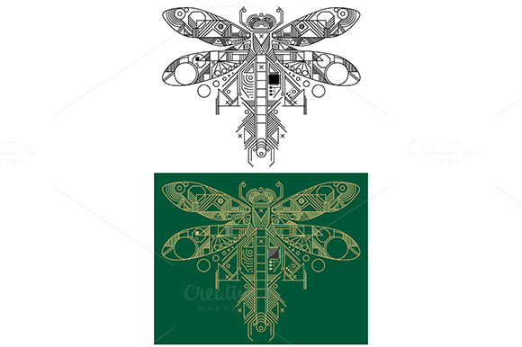 Dragonfly With Computer Motherboard