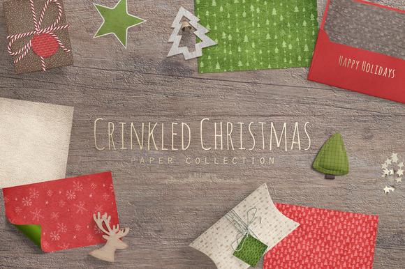 Crinkled Christmas Digital Papers