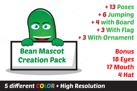 Bean Oval Mascot Creation Pack