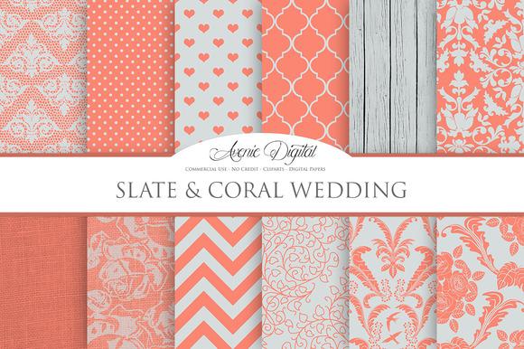 Slate Coral Wedding Digital Paper