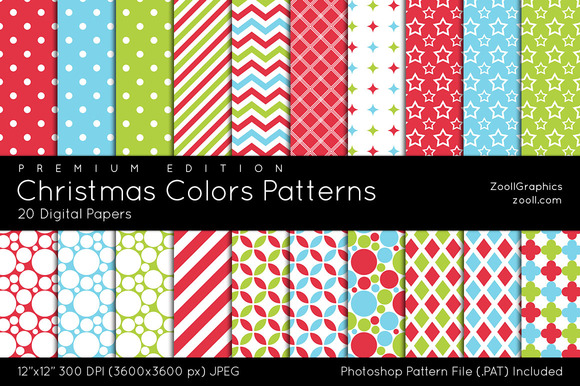 Christmas Colors Digital Papers