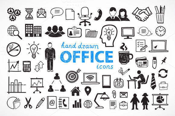 60 Hand Drawn Office Icons