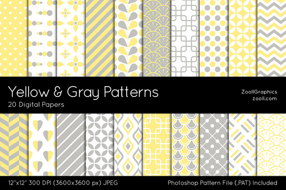 Yellow And Gray Digital Papers
