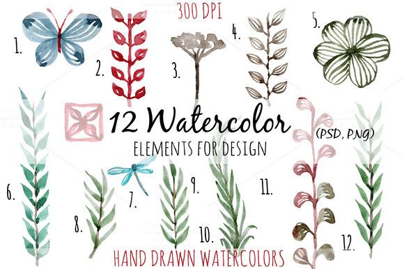 12 Watercolor Elements For Design