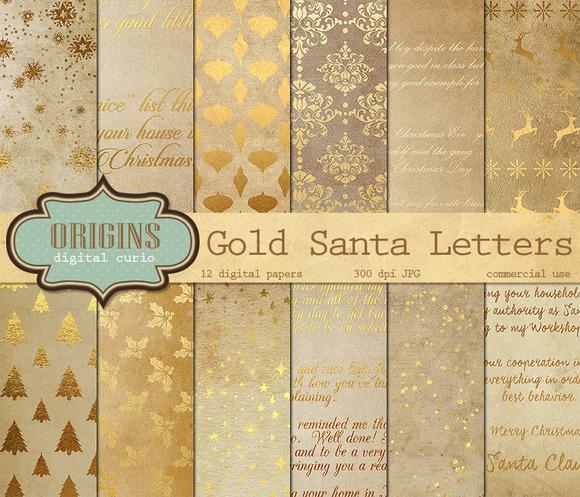 Gold Santa Letters Digital Paper