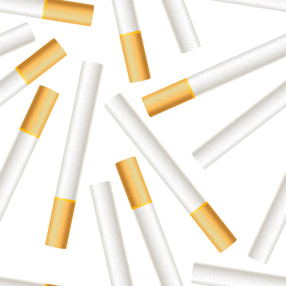 A Lot Of Cigarettes On White