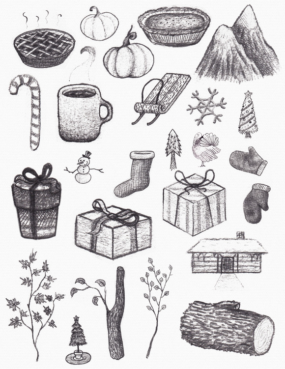 Fall Winter Graphite Doodles