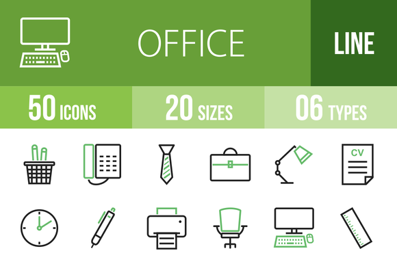 50 Office Green Black Icons
