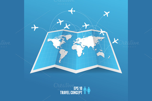 Blue Map Icon And Airplane Vector