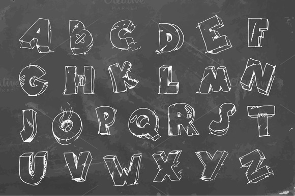 Cracked Font On Chalkboard