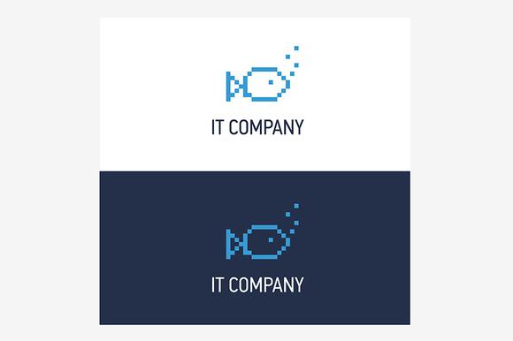Pixel Fish Logo Design Template