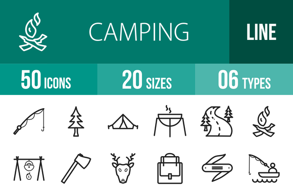 50 Camping Line Icons