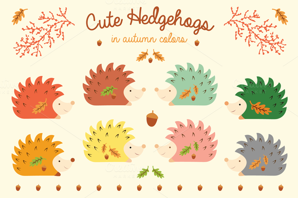 Cute Hedgehogs In Autumn Colors