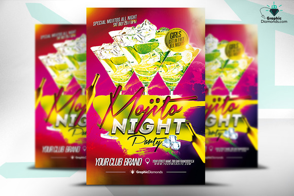 Mojito Night Party Flyer PSD
