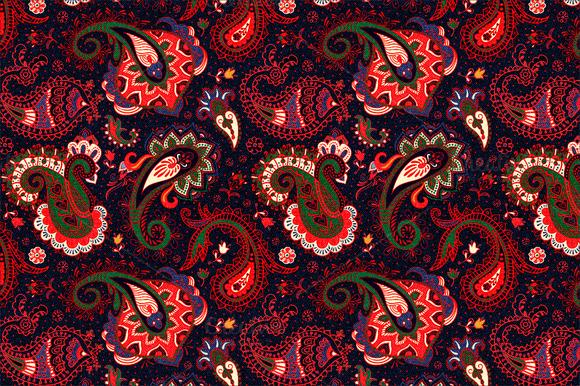 Red Paisley Seamless Pattern