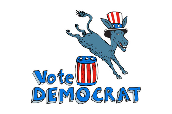 Vote Democrat Donkey Mascot Jumping