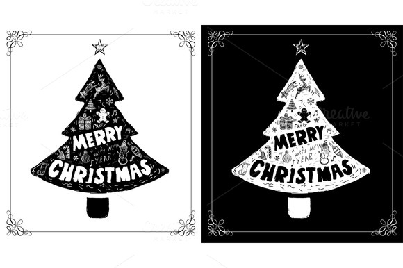 Christmas Cards Set With Doodles Dra