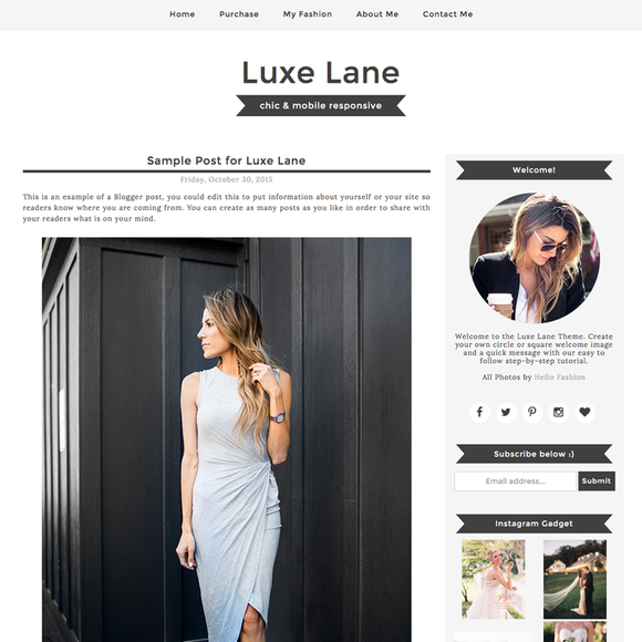 Luxe Lane Blogger Template