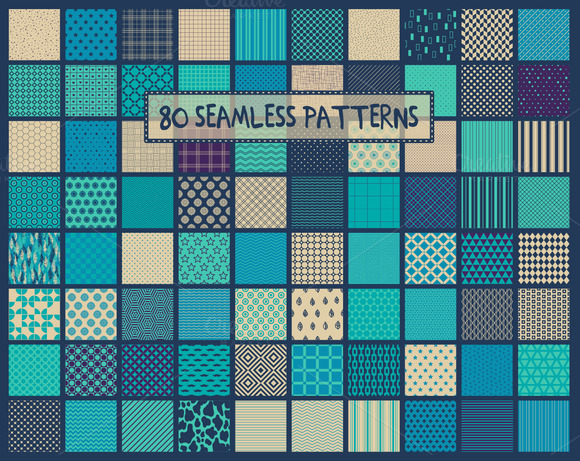 80seamless Turquoise-purple Patterns