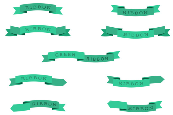 Green Ribbon Vector Set