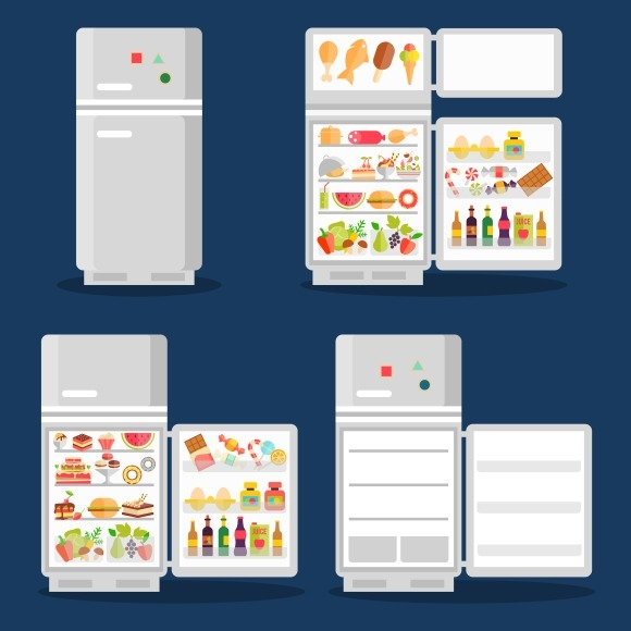 Opened Refrigerator With Food