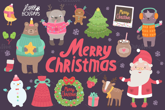 Cute Christmas Characters Objects