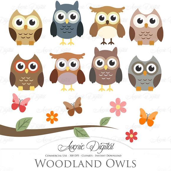 Woodland Owls Clipart And Vectors