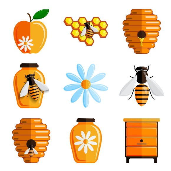 Honey Vector Set Of Icons