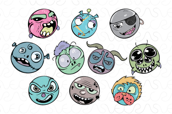 Zombie Faces Freehand Style Vector