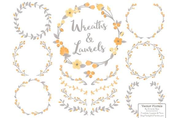 Sunshine Vector Flower Wreaths