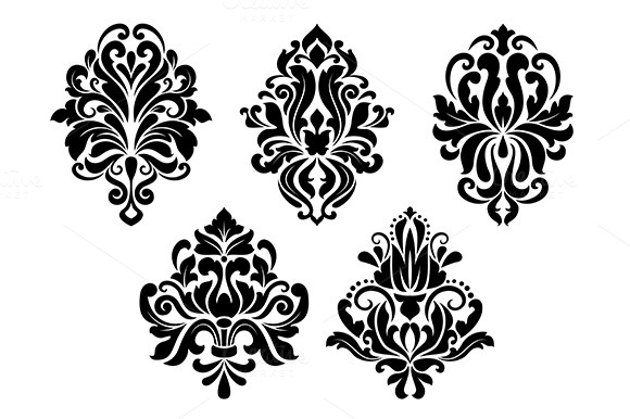 Decorative Floral Elements Set