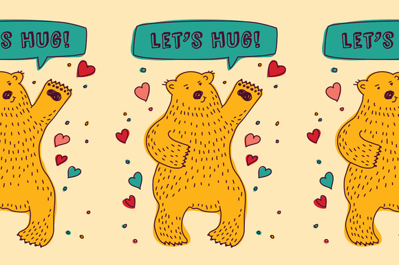 Bear With Hearts Let's HUG