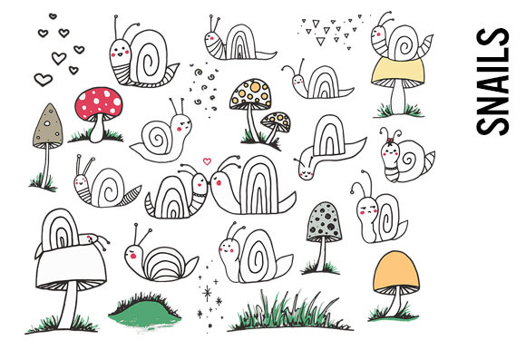 Snails And Mushrooms Doodles