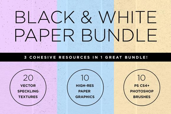 Black White Paper Texture Bundle