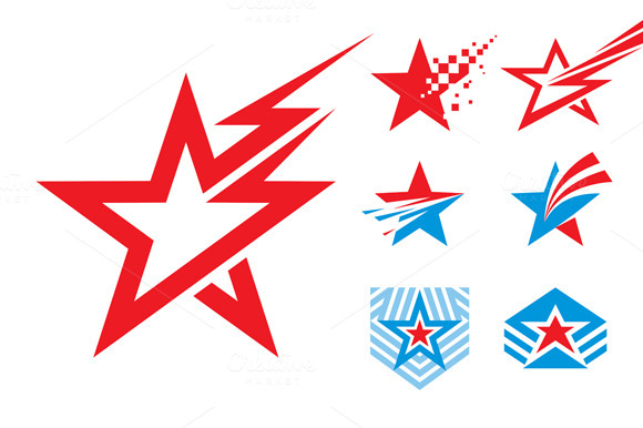 7 Stars Logo Signs Illustrations
