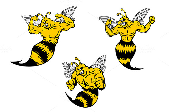 Angry Cartoon Wasp Or Hornets With A