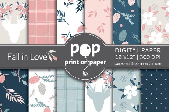 Fall In Love Floral Digital Paper