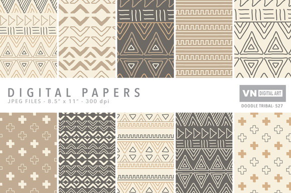 Digital Papers Doodle Tribal 527