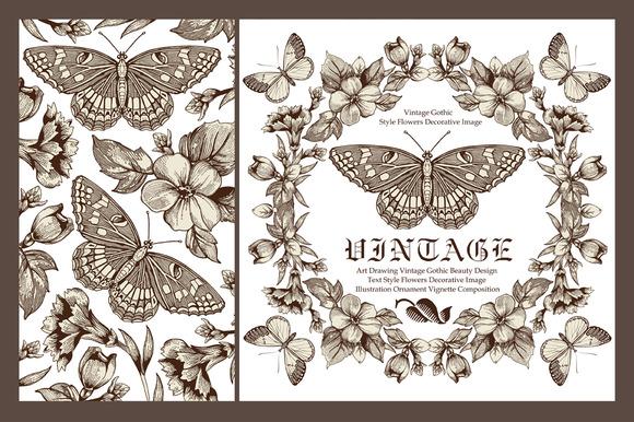 Set Butterflies Flowers Card