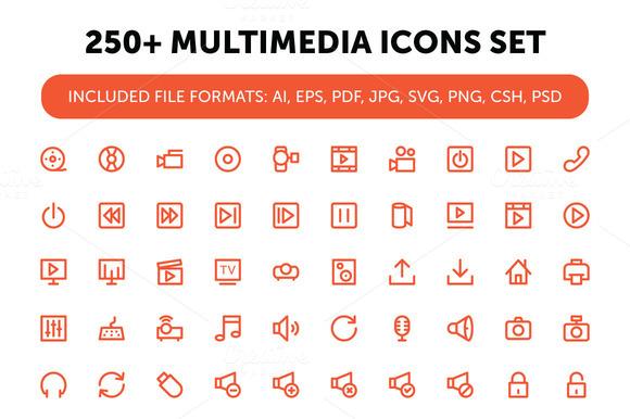 250 Multimedia Icons Set