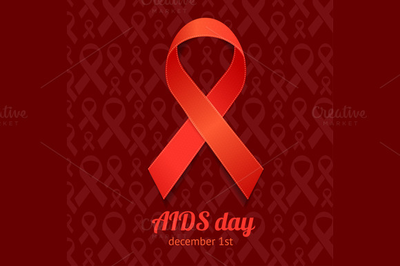 AIDS Day Card Set Vector