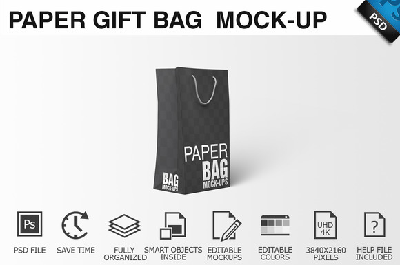 Paper Gift Shopping Bag Mockup 3