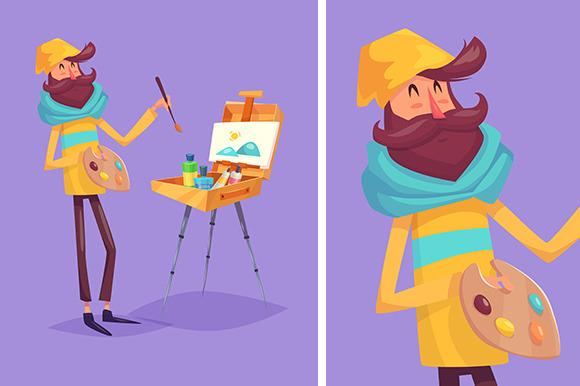 Funny Illustration Of Artist
