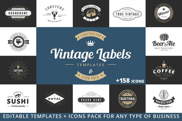 Vintage Label Badge Logo Constructor