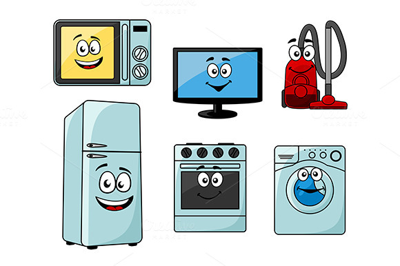 Cartoon Household Appliances Set