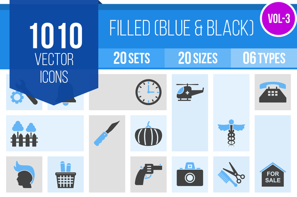 1010 Filled Blue Black Icons