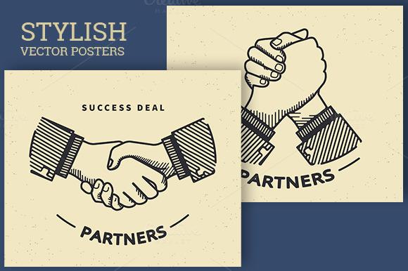 Business Handshaking Retro Vector