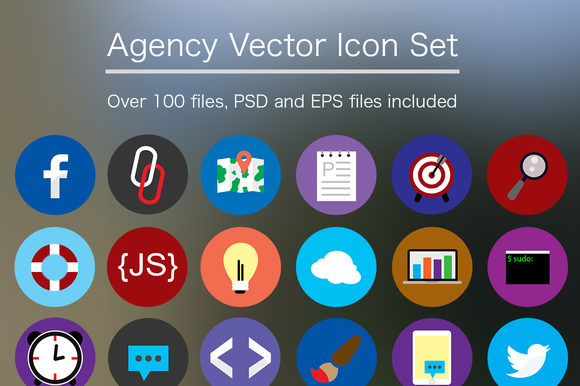 Flat Agency Icon Set PSD Vector