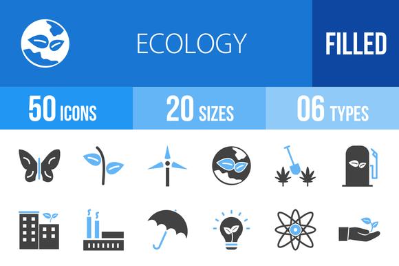 50 Ecology Blue Black Icons