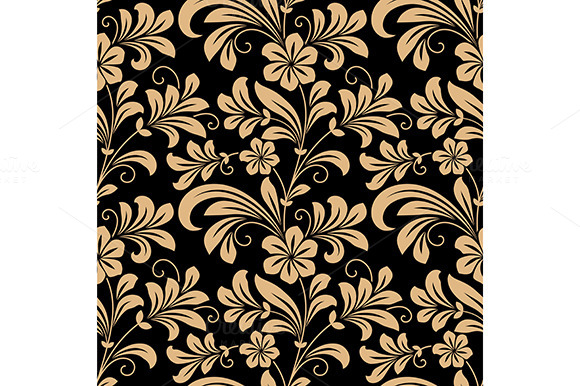 Floral Seamless Pattern With Gold Fl